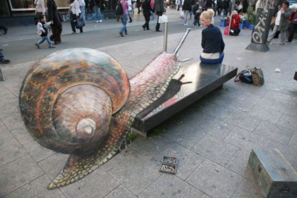 Snail chalk drawing